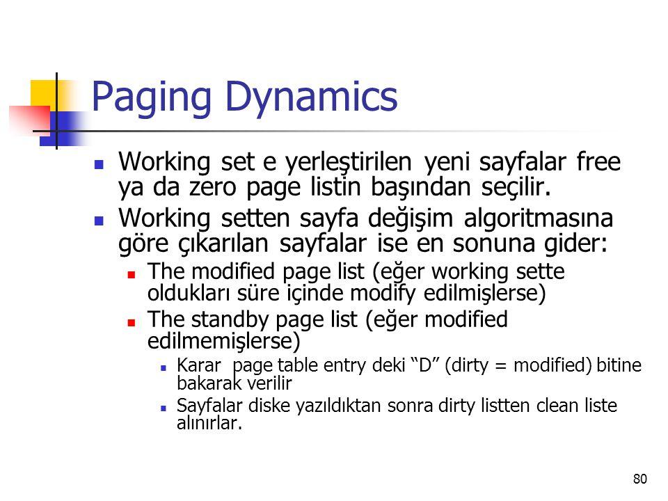 80 Paging Dynamics Working set e yerleştirilen yeni sayfalar free ya da zero page listin başından seçilir. Working setten sayfa değişim algoritmasına