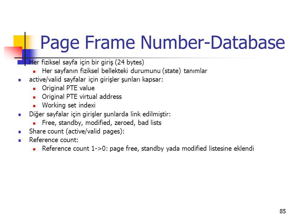 85 Page Frame Number-Database Her fiziksel sayfa için bir giriş (24 bytes) Her sayfanın fiziksel bellekteki durumunu (state) tanımlar active/valid say