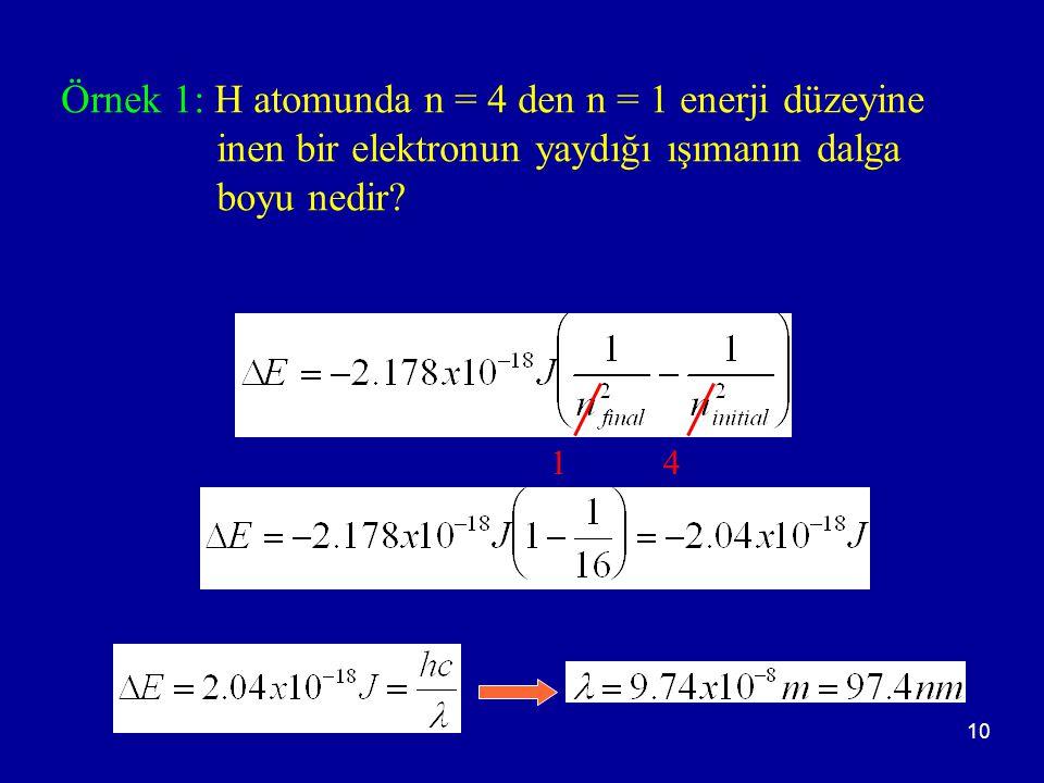 10 Örnek 1: H atomunda n = 4 den n = 1 enerji düzeyine inen bir elektronun yaydığı ışımanın dalga boyu nedir? 14