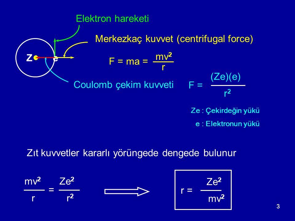 3 Elektron hareketi Ze Coulomb çekim kuvveti F = (Ze)(e) r2r2 Merkezkaç kuvvet (centrifugal force) F = ma = mv 2 r r = Ze 2 r2r2 Zıt kuvvetler kararlı