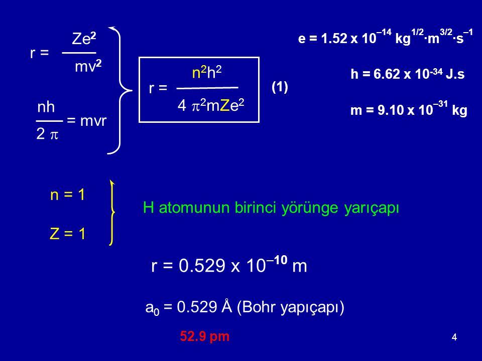 5 Bohr Yörüngelerinin Enerjileri toplam enerji = potansiyel enerji + kinetik enerji - Ze 2 r = + mv 2 2 1 - Z 2 2  2 m e 4 n 2 h 2 En=En= E =E = Ze 2 - 2 r (2) (1) + (2) Z = 1 n = 1 = - 2.18 x 10 –18 J·atom –1 H atomu temel hal enerjisi = -313 kcal·mol –1 = -1310 kJ·mol –1