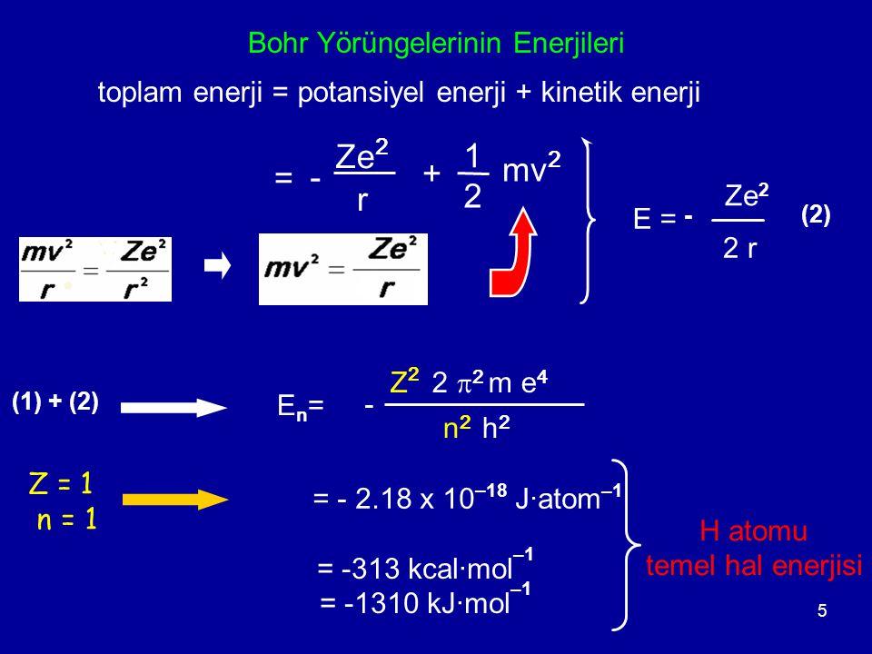 5 Bohr Yörüngelerinin Enerjileri toplam enerji = potansiyel enerji + kinetik enerji - Ze 2 r = + mv 2 2 1 - Z 2 2  2 m e 4 n 2 h 2 En=En= E =E = Ze 2