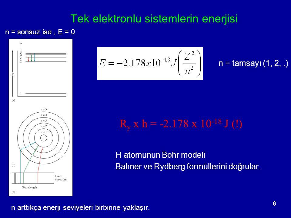 6 H atomunun Bohr modeli Balmer ve Rydberg formüllerini doğrular. n = tamsayı (1, 2,.) R y x h = -2.178 x 10 -18 J (!) Tek elektronlu sistemlerin ener