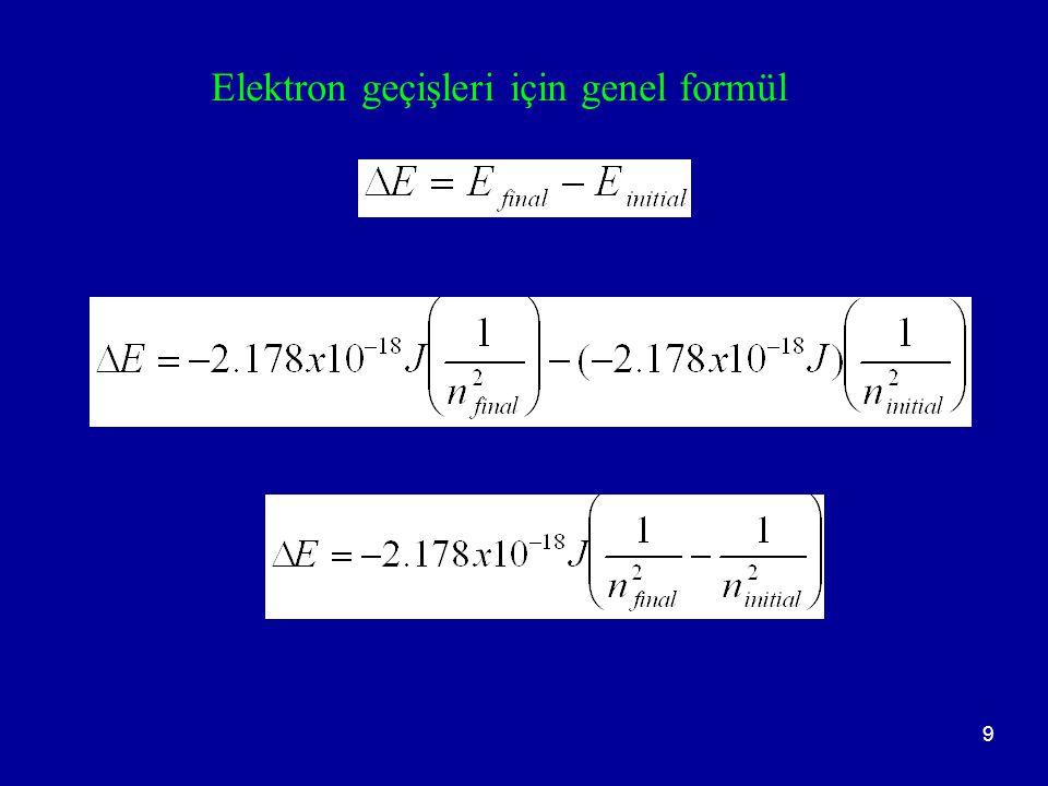 10 Örnek 1: H atomunda n = 4 den n = 1 enerji düzeyine inen bir elektronun yaydığı ışımanın dalga boyu nedir.