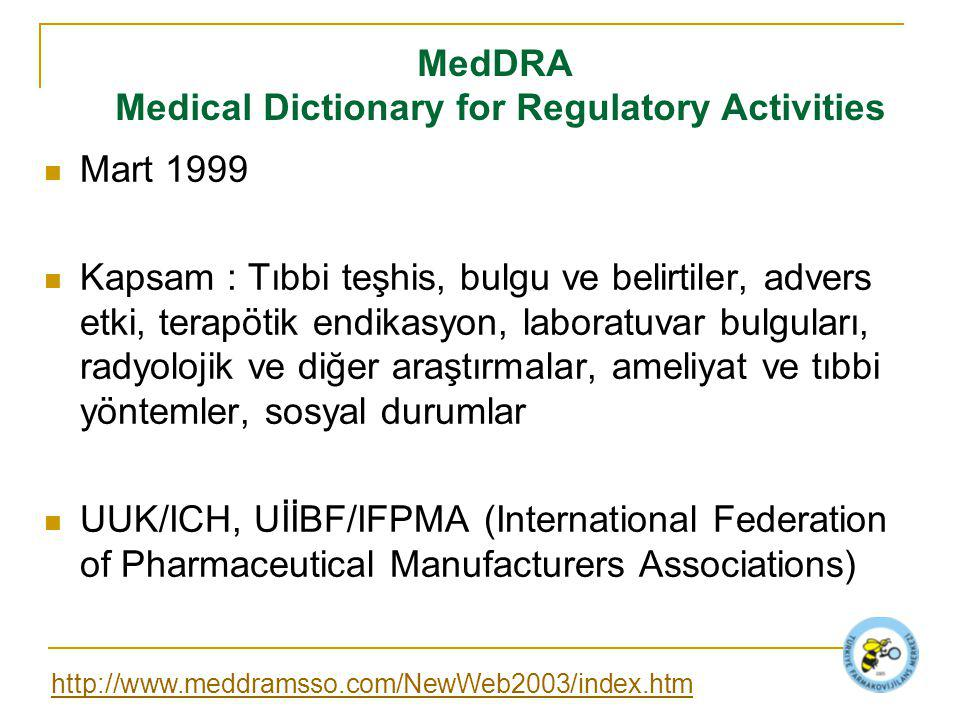 MedDRA Medical Dictionary for Regulatory Activities Mart 1999 Kapsam : Tıbbi teşhis, bulgu ve belirtiler, advers etki, terapötik endikasyon, laboratuv