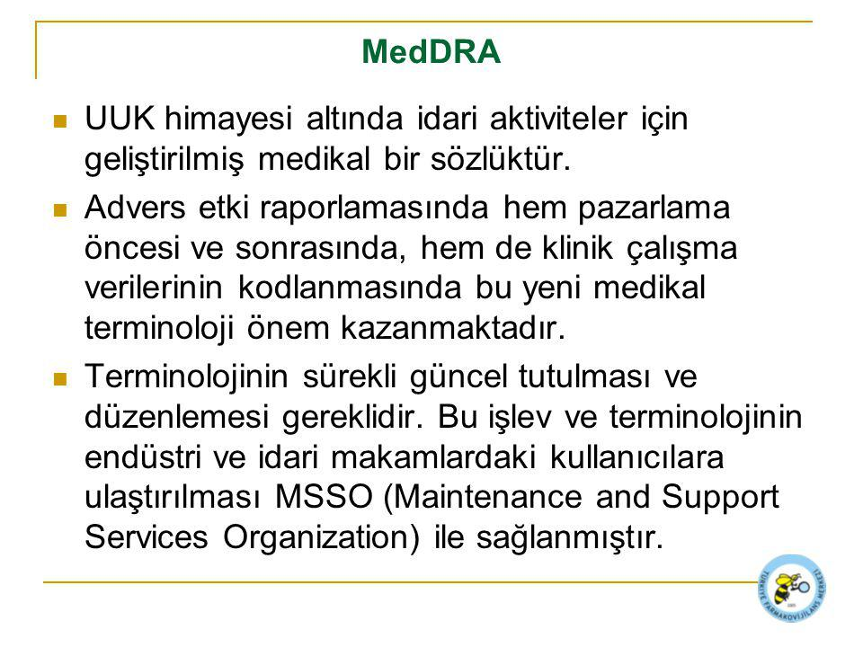 MedDRA UUK himayesi altında idari aktiviteler için geliştirilmiş medikal bir sözlüktür.
