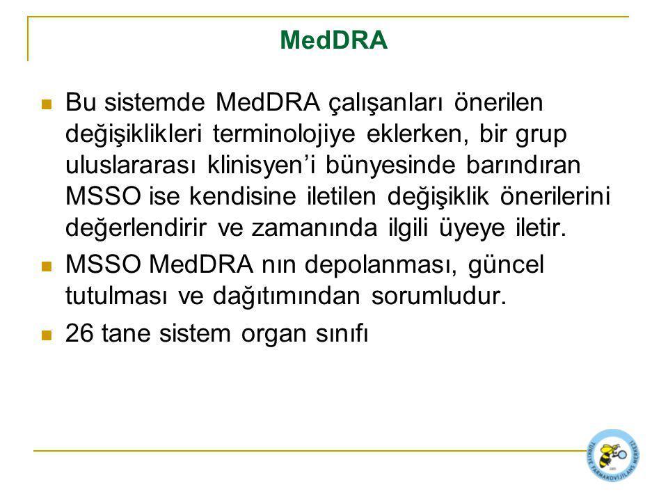 MedDRA Bu sistemde MedDRA çalışanları önerilen değişiklikleri terminolojiye eklerken, bir grup uluslararası klinisyen'i bünyesinde barındıran MSSO ise kendisine iletilen değişiklik önerilerini değerlendirir ve zamanında ilgili üyeye iletir.