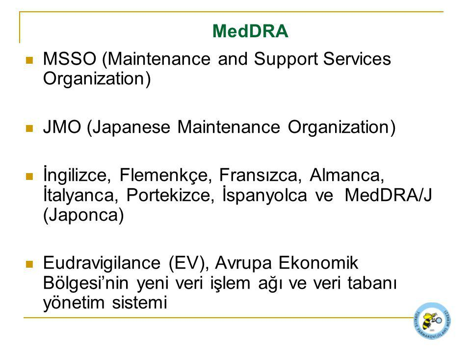 MedDRA MSSO (Maintenance and Support Services Organization) JMO (Japanese Maintenance Organization) İngilizce, Flemenkçe, Fransızca, Almanca, İtalyanc