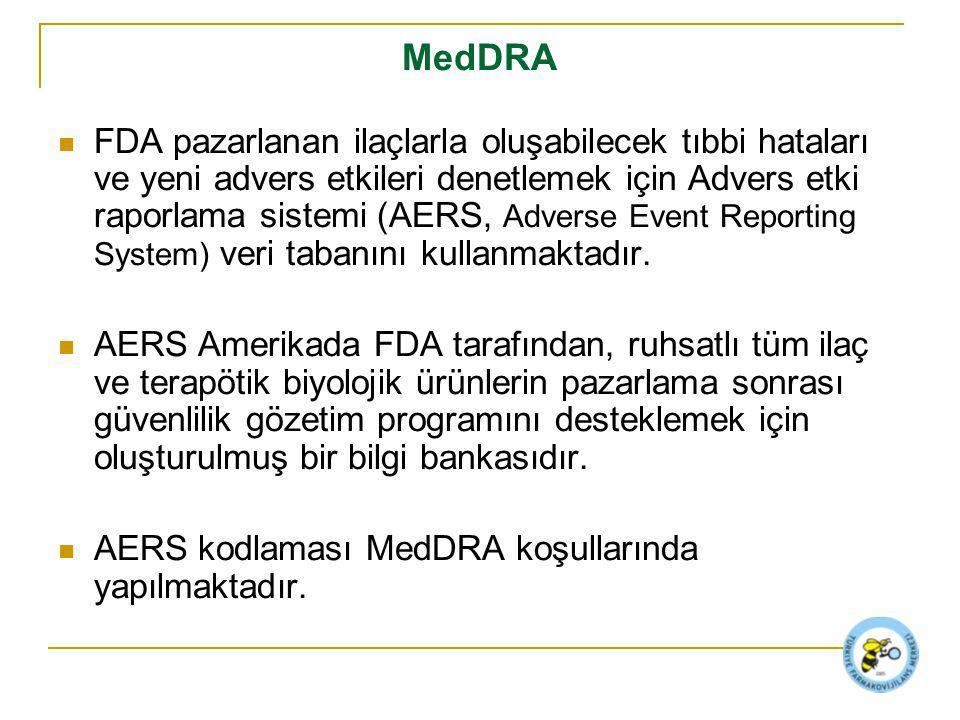 MedDRA FDA pazarlanan ilaçlarla oluşabilecek tıbbi hataları ve yeni advers etkileri denetlemek için Advers etki raporlama sistemi (AERS, Adverse Event Reporting System) veri tabanını kullanmaktadır.