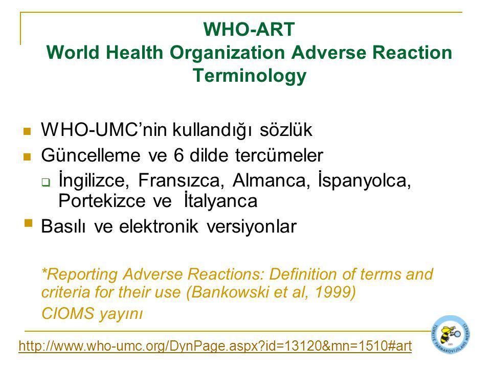 WHO-ART World Health Organization Adverse Reaction Terminology WHO-UMC'nin kullandığı sözlük Güncelleme ve 6 dilde tercümeler  İngilizce, Fransızca, Almanca, İspanyolca, Portekizce ve İtalyanca  Basılı ve elektronik versiyonlar *Reporting Adverse Reactions: Definition of terms and criteria for their use (Bankowski et al, 1999) CIOMS yayını http://www.who-umc.org/DynPage.aspx?id=13120&mn=1510#art