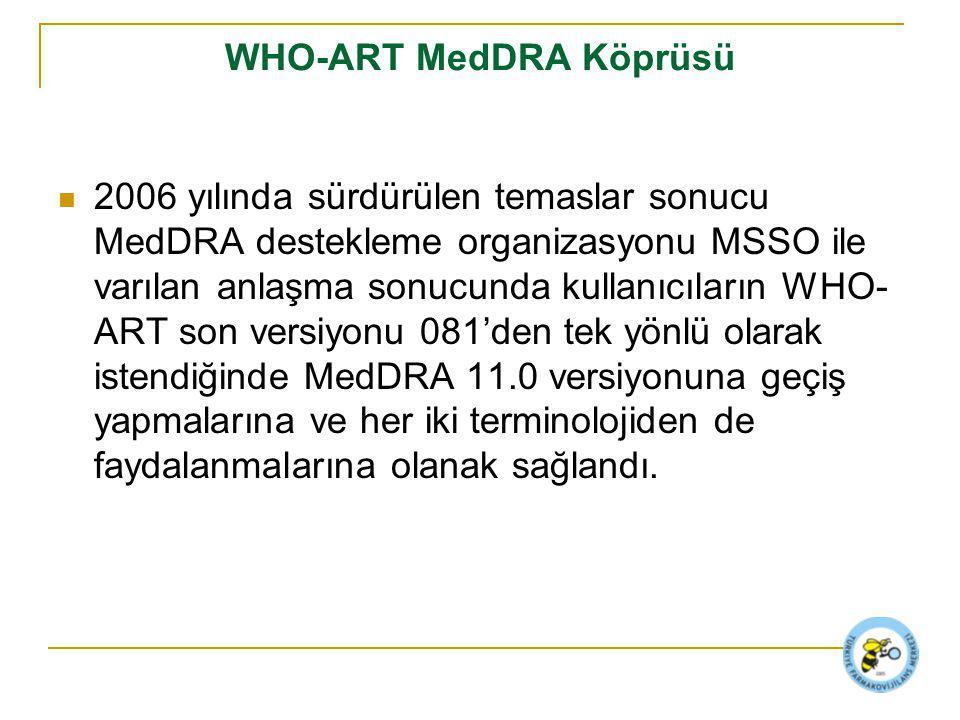 WHO-ART MedDRA Köprüsü 2006 yılında sürdürülen temaslar sonucu MedDRA destekleme organizasyonu MSSO ile varılan anlaşma sonucunda kullanıcıların WHO- ART son versiyonu 081'den tek yönlü olarak istendiğinde MedDRA 11.0 versiyonuna geçiş yapmalarına ve her iki terminolojiden de faydalanmalarına olanak sağlandı.