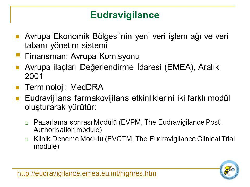 Eudravigilance Avrupa Ekonomik Bölgesi'nin yeni veri işlem ağı ve veri tabanı yönetim sistemi  Finansman: Avrupa Komisyonu Avrupa ilaçları Değerlendirme İdaresi (EMEA), Aralık 2001 Terminoloji: MedDRA Eudravijilans farmakovijilans etkinliklerini iki farklı modül oluşturarak yürütür:  Pazarlama-sonrası Modülü (EVPM, The Eudravigilance Post- Authorisation module)  Klinik Deneme Modülü (EVCTM, The Eudravigilance Clinical Trial module) http://eudravigilance.emea.eu.int/highres.htm