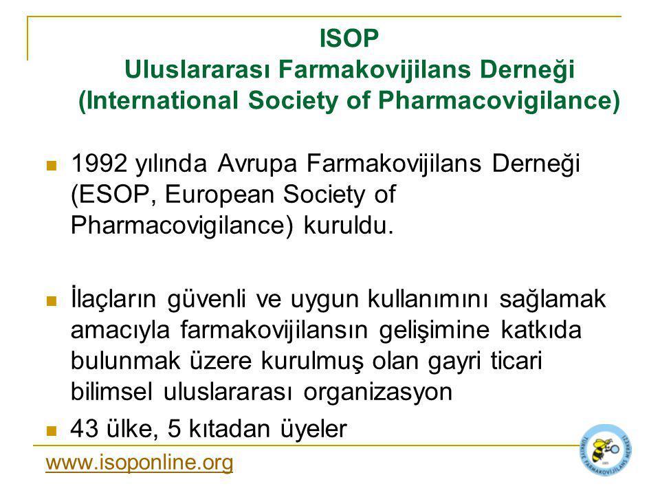 ISOP Uluslararası Farmakovijilans Derneği (International Society of Pharmacovigilance) 1992 yılında Avrupa Farmakovijilans Derneği (ESOP, European Society of Pharmacovigilance) kuruldu.