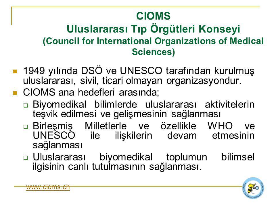 CIOMS Uluslararası Tıp Örgütleri Konseyi (Council for International Organizations of Medical Sciences) 1949 yılında DSÖ ve UNESCO tarafından kurulmuş uluslararası, sivil, ticari olmayan organizasyondur.