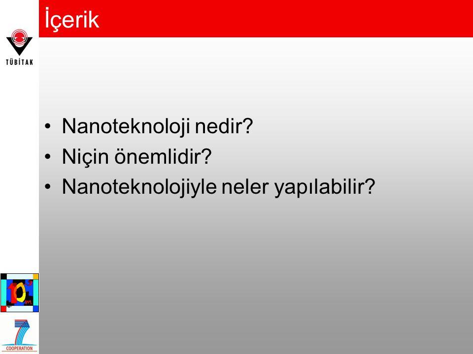 İçerik Nanoteknoloji nedir? Niçin önemlidir? Nanoteknolojiyle neler yapılabilir?