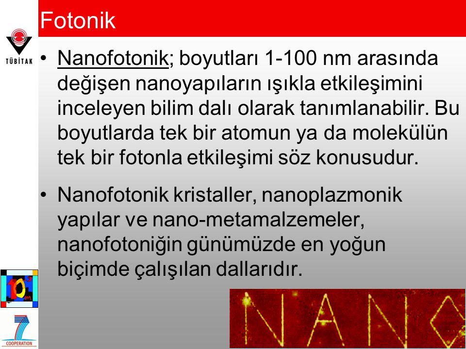 Fotonik Nanofotonik; boyutları 1-100 nm arasında değişen nanoyapıların ışıkla etkileşimini inceleyen bilim dalı olarak tanımlanabilir. Bu boyutlarda t