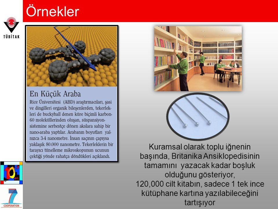 Örnekler Kuramsal olarak toplu iğnenin başında, Britanika Ansiklopedisinin tamamını yazacak kadar boşluk olduğunu gösteriyor, 120,000 cilt kitabın, sa