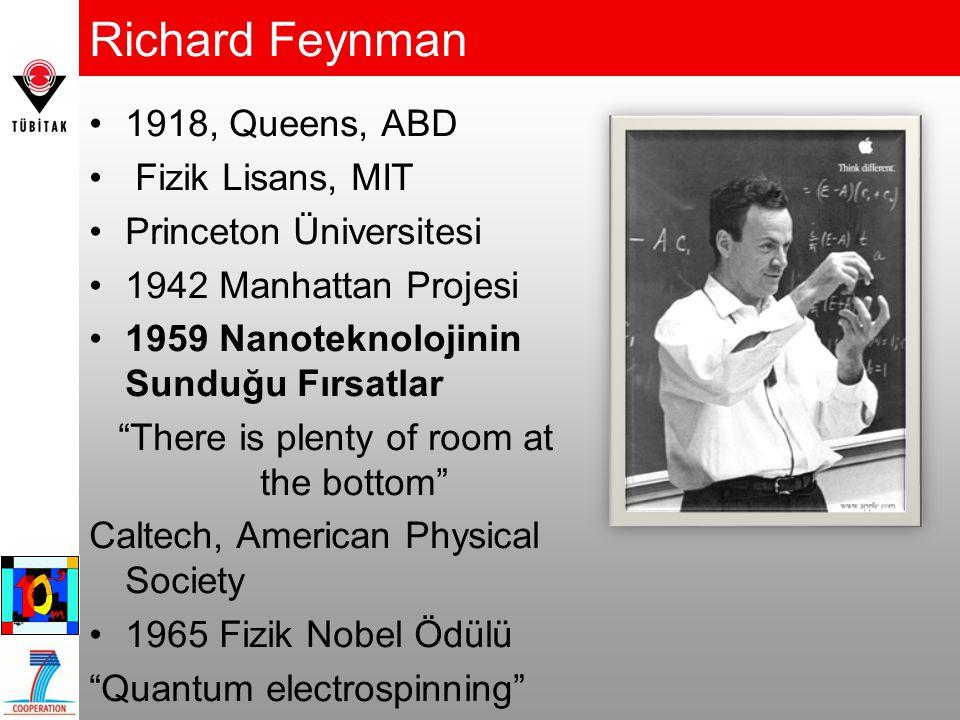 Richard Feynman 1918, Queens, ABD Fizik Lisans, MIT Princeton Üniversitesi 1942 Manhattan Projesi 1959 Nanoteknolojinin Sunduğu Fırsatlar There is plenty of room at the bottom Caltech, American Physical Society 1965 Fizik Nobel Ödülü Quantum electrospinning