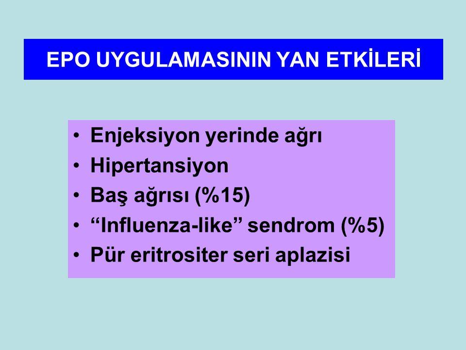 EPO UYGULAMASININ YAN ETKİLERİ Enjeksiyon yerinde ağrı Hipertansiyon Baş ağrısı (%15) Influenza-like sendrom (%5) Pür eritrositer seri aplazisi