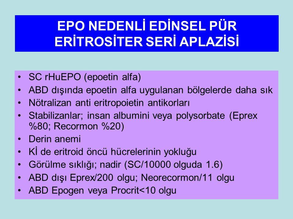 EPO NEDENLİ EDİNSEL PÜR ERİTROSİTER SERİ APLAZİSİ SC rHuEPO (epoetin alfa) ABD dışında epoetin alfa uygulanan bölgelerde daha sık Nötralizan anti eritropoietin antikorları Stabilizanlar; insan albumini veya polysorbate (Eprex %80; Recormon %20) Derin anemi Kİ de eritroid öncü hücrelerinin yokluğu Görülme sıklığı; nadir (SC/10000 olguda 1.6) ABD dışı Eprex/200 olgu; Neorecormon/11 olgu ABD Epogen veya Procrit<10 olgu