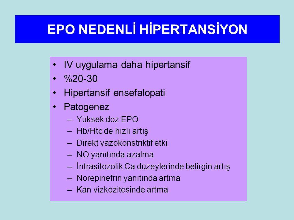 EPO NEDENLİ HİPERTANSİYON IV uygulama daha hipertansif %20-30 Hipertansif ensefalopati Patogenez –Yüksek doz EPO –Hb/Htc de hızlı artış –Direkt vazokonstriktif etki –NO yanıtında azalma –İntrasitozolik Ca düzeylerinde belirgin artış –Norepinefrin yanıtında artma –Kan vizkozitesinde artma