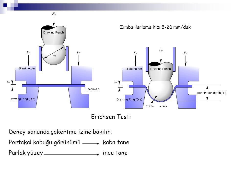 Erichsen Testi Deney sonunda çökertme izine bakılır. Portakal kabuğu görünümükaba tane Parlak yüzeyince tane Zımba ilerleme hızı 5-20 mm/dak