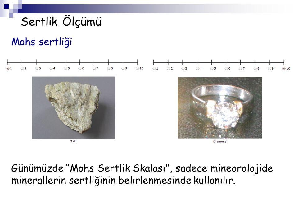 """Sertlik Ölçümü Mohs sertliği Günümüzde """"Mohs Sertlik Skalası"""", sadece mineorolojide minerallerin sertliğinin belirlenmesinde kullanılır."""