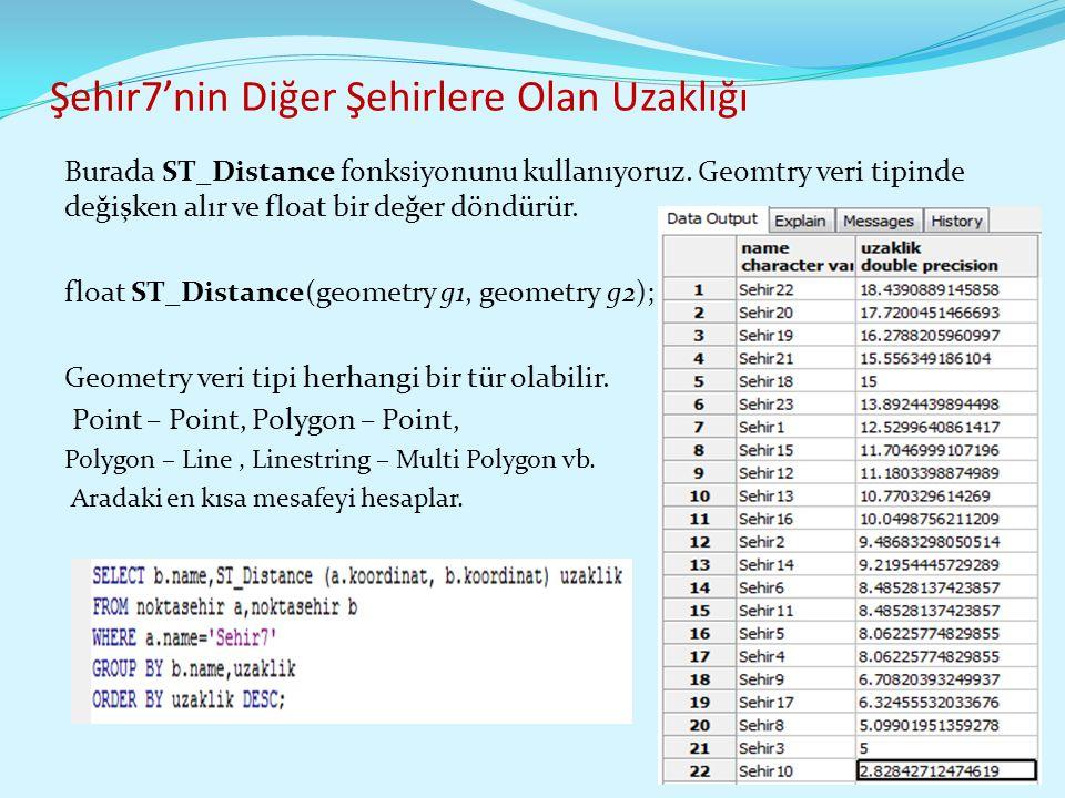 Şehir7'nin Diğer Şehirlere Olan Uzaklığı Burada ST_Distance fonksiyonunu kullanıyoruz. Geomtry veri tipinde değişken alır ve float bir değer döndürür.