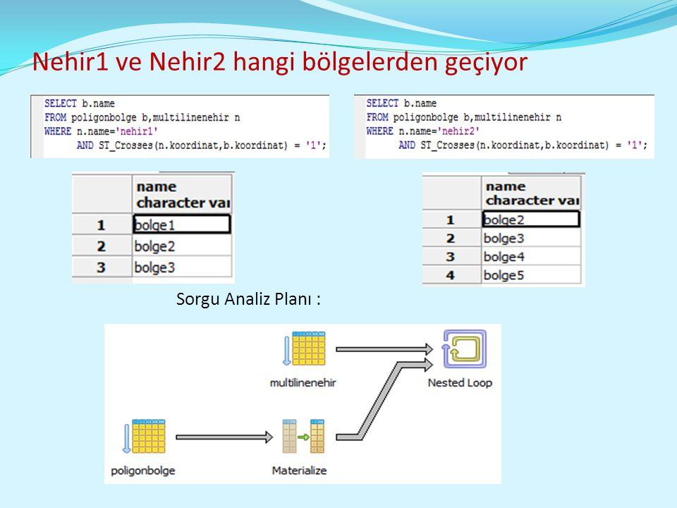 Nehir1 ve Nehir2 hangi bölgelerden geçiyor Sorgu Analiz Planı :