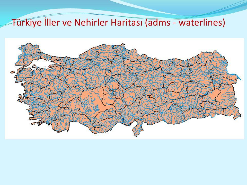 Türkiye İller ve Nehirler Haritası (adms - waterlines)