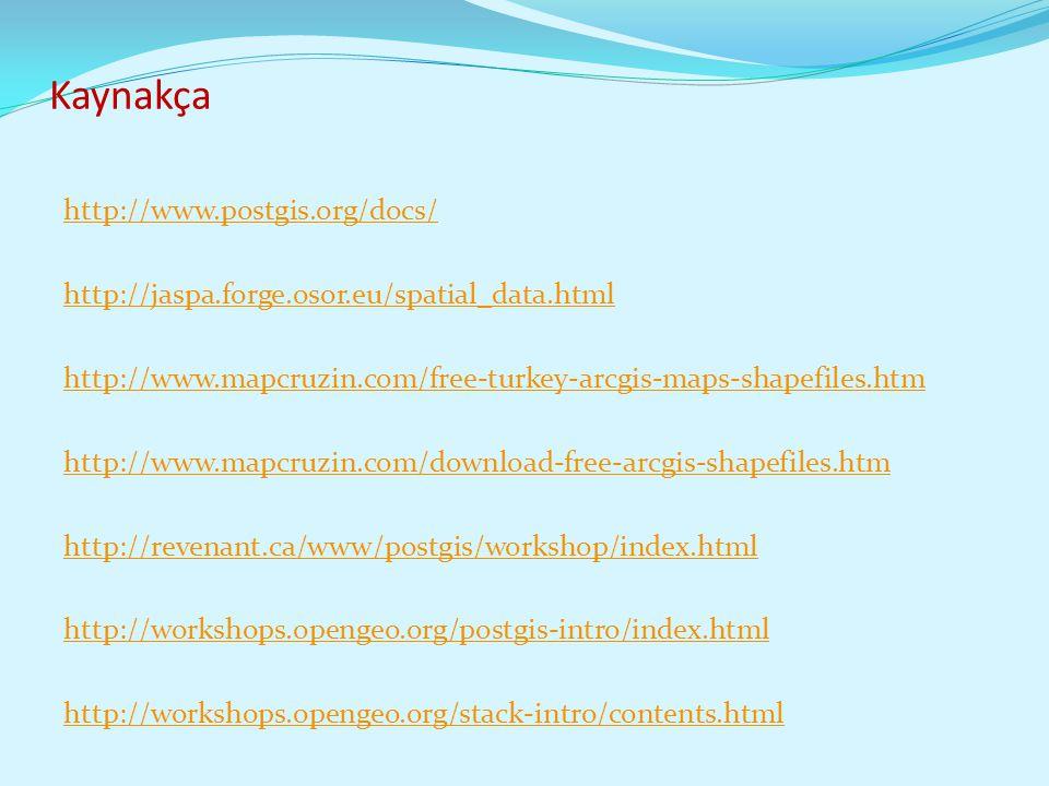 Kaynakça http://www.postgis.org/docs/ http://jaspa.forge.osor.eu/spatial_data.html http://www.mapcruzin.com/free-turkey-arcgis-maps-shapefiles.htm htt