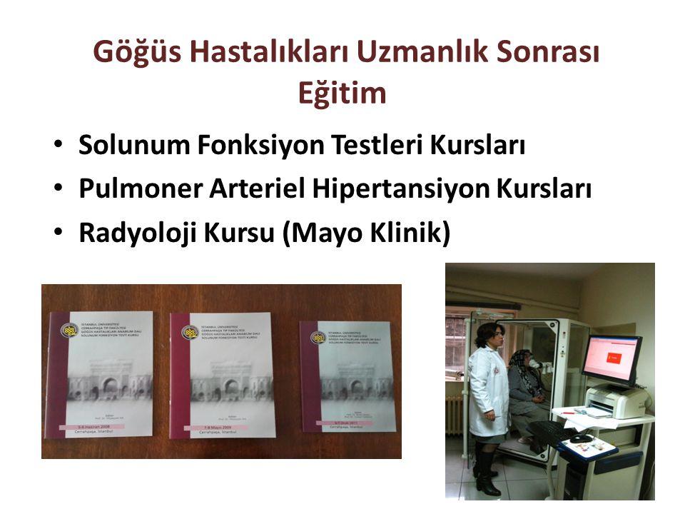 Göğüs Hastalıkları Uzmanlık Sonrası Eğitim Solunum Fonksiyon Testleri Kursları Pulmoner Arteriel Hipertansiyon Kursları Radyoloji Kursu (Mayo Klinik)