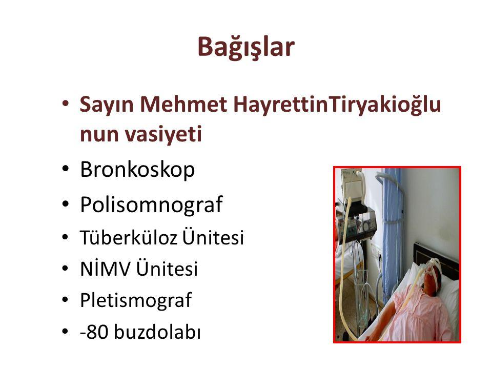 Bağışlar Sayın Mehmet HayrettinTiryakioğlu nun vasiyeti Bronkoskop Polisomnograf Tüberküloz Ünitesi NİMV Ünitesi Pletismograf -80 buzdolabı