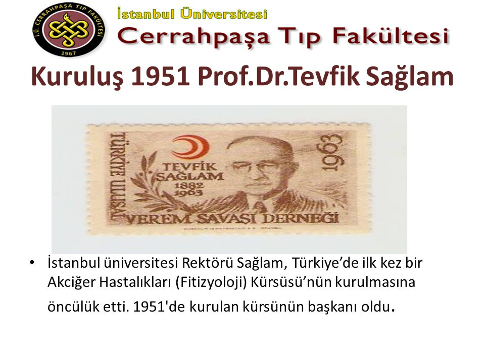 Kuruluş 1951 Prof.Dr.Tevfik Sağlam İstanbul üniversitesi Rektörü Sağlam, Türkiye'de ilk kez bir Akciğer Hastalıkları (Fitizyoloji) Kürsüsü'nün kurulma