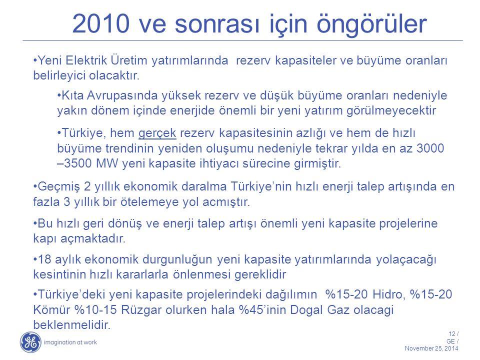 12 / GE / November 25, 2014 2010 ve sonrası için öngörüler Yeni Elektrik Üretim yatırımlarında rezerv kapasiteler ve büyüme oranları belirleyici olaca
