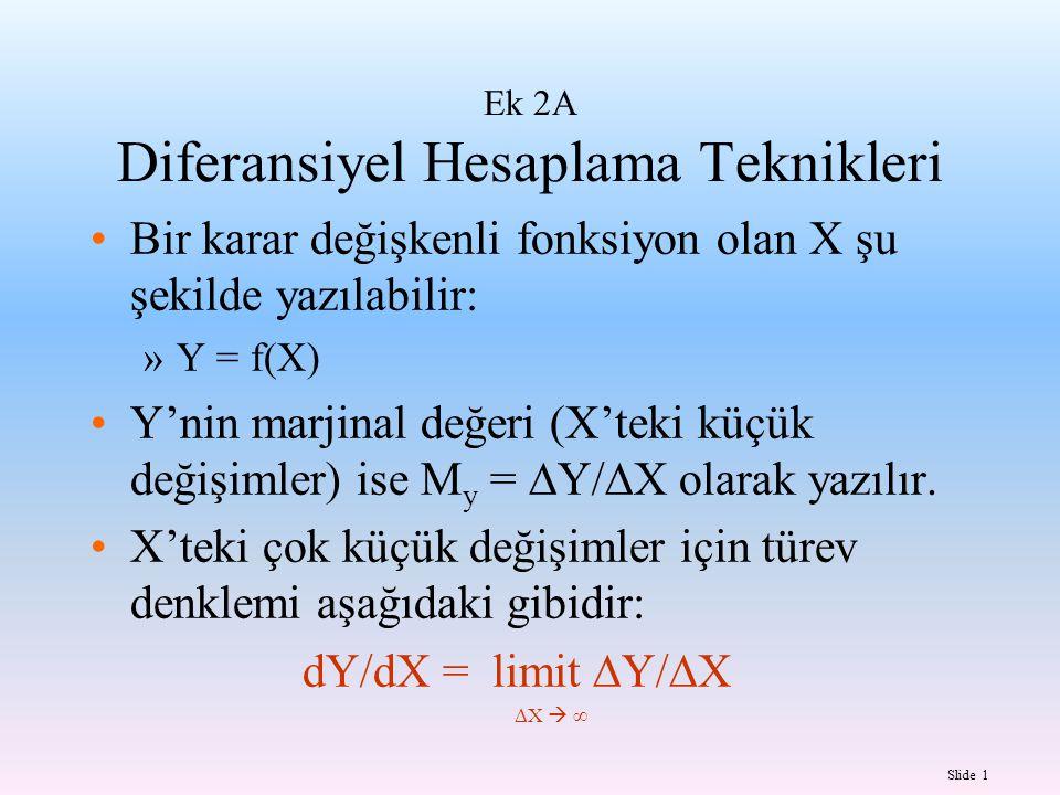 Slide 1 Ek 2A Diferansiyel Hesaplama Teknikleri Bir karar değişkenli fonksiyon olan X şu şekilde yazılabilir: »Y = f(X) Y'nin marjinal değeri (X'teki
