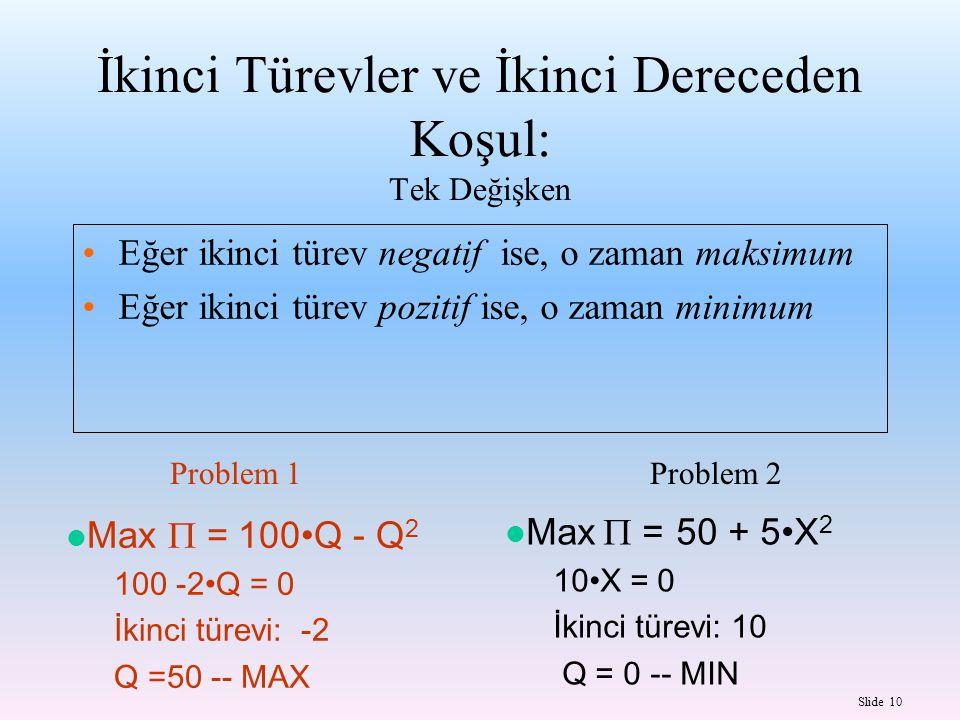 Slide 10 Eğer ikinci türev negatif ise, o zaman maksimum Eğer ikinci türev pozitif ise, o zaman minimum Max  = 100Q - Q 2 100 -2Q = 0 İkinci türevi: