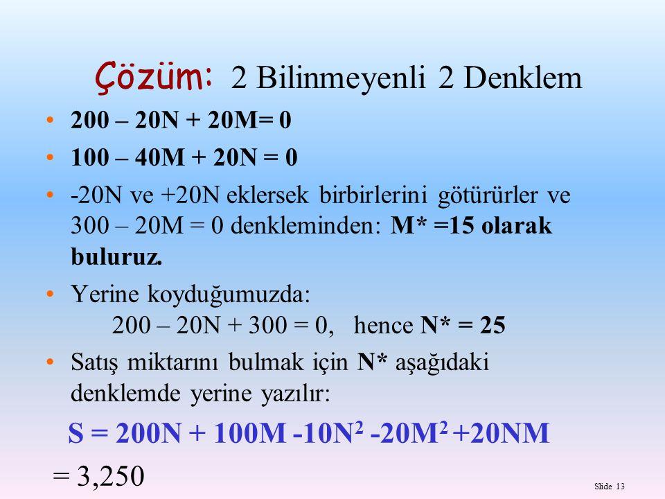 Slide 13 Çözüm: 2 Bilinmeyenli 2 Denklem 200 – 20N + 20M= 0 100 – 40M + 20N = 0 -20N ve +20N eklersek birbirlerini götürürler ve 300 – 20M = 0 denklem