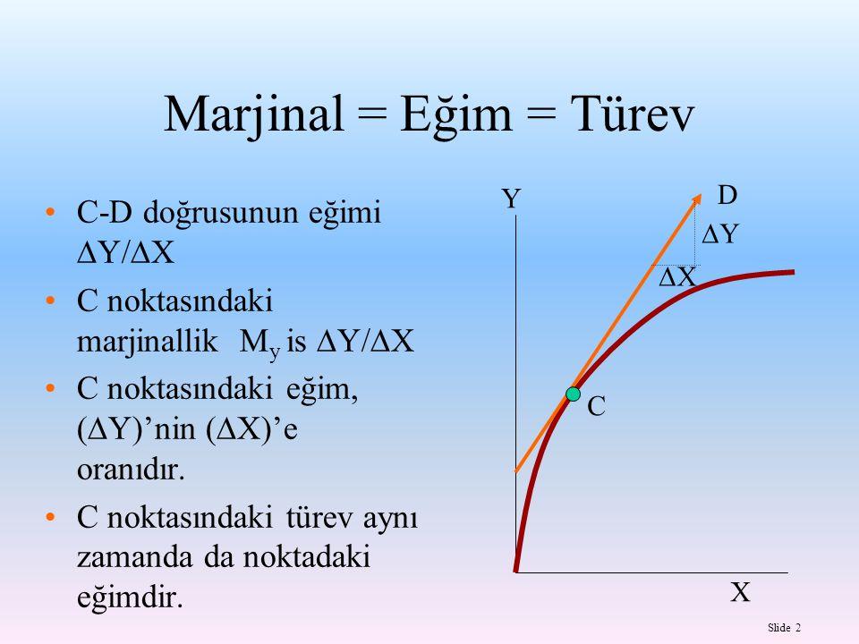 Slide 2 C-D doğrusunun eğimi  Y/  X C noktasındaki marjinallik M y is  Y/  X C noktasındaki eğim, (  Y)'nin (  X)'e oranıdır. C noktasındaki tür