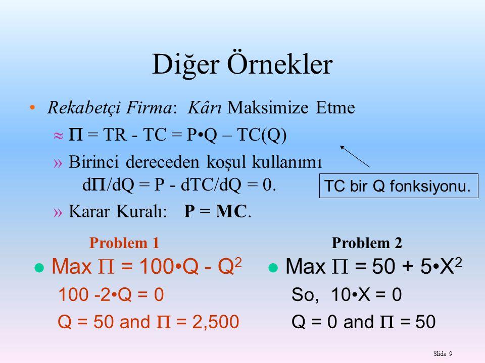 Slide 10 Eğer ikinci türev negatif ise, o zaman maksimum Eğer ikinci türev pozitif ise, o zaman minimum Max  = 100Q - Q 2 100 -2Q = 0 İkinci türevi: -2 Q =50 -- MAX Max  = 50 + 5X 2 10X = 0 İkinci türevi: 10 Q = 0 -- MIN Problem 1Problem 2 İkinci Türevler ve İkinci Dereceden Koşul: Tek Değişken
