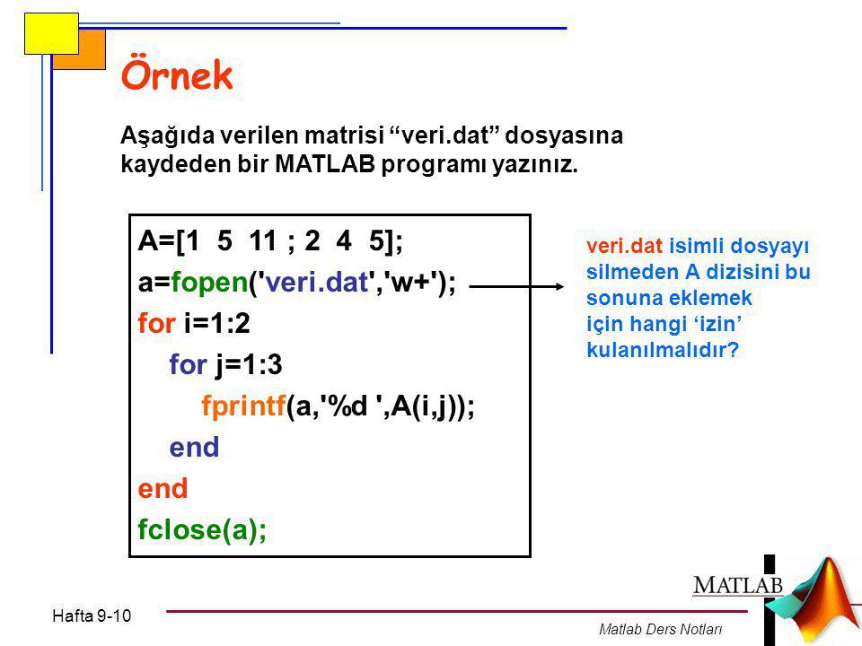 Hafta 9-10 Matlab Ders Notları Örnek Aşağıda verilen matrisi veri.dat dosyasına kaydeden bir MATLAB programı yazınız.