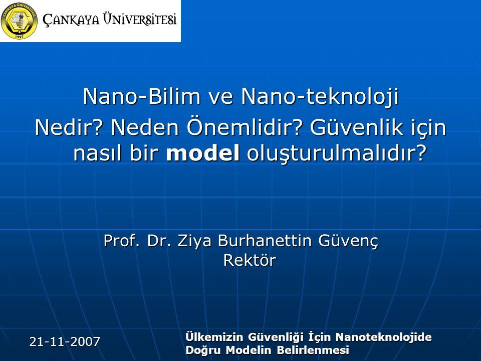 21-11-2007 Ülkemizin Güvenliği İçin Nanoteknolojide Doğru Modelin Belirlenmesi Nano-Bilim ve Nano-teknoloji Nedir? Neden Önemlidir? Güvenlik için nası