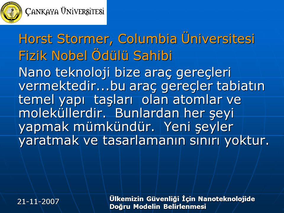 21-11-2007 Ülkemizin Güvenliği İçin Nanoteknolojide Doğru Modelin Belirlenmesi Horst Stormer, Columbia Üniversitesi Fizik Nobel Ödülü Sahibi Nano teknoloji bize araç gereçleri vermektedir...bu araç gereçler tabiatın temel yapı taşları olan atomlar ve moleküllerdir.