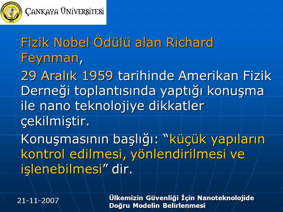 21-11-2007 Ülkemizin Güvenliği İçin Nanoteknolojide Doğru Modelin Belirlenmesi Fizik Nobel Ödülü alan Richard Feynman, 29 Aralık 1959 tarihinde Amerik