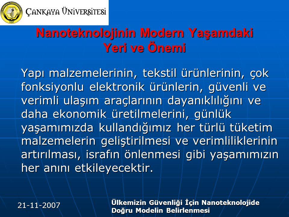 21-11-2007 Ülkemizin Güvenliği İçin Nanoteknolojide Doğru Modelin Belirlenmesi Nanoteknolojinin Modern Yaşamdaki Yeri ve Önemi Yapı malzemelerinin, te