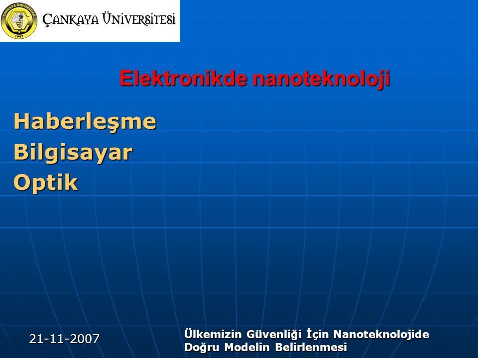 21-11-2007 Ülkemizin Güvenliği İçin Nanoteknolojide Doğru Modelin Belirlenmesi Elektronikde nanoteknoloji Elektronikde nanoteknoloji HaberleşmeBilgisayarOptik