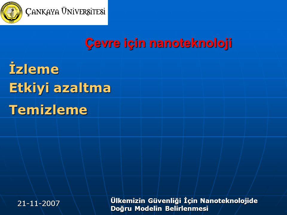21-11-2007 Ülkemizin Güvenliği İçin Nanoteknolojide Doğru Modelin Belirlenmesi Çevre için nanoteknoloji İzleme Etkiyi azaltma Temizleme