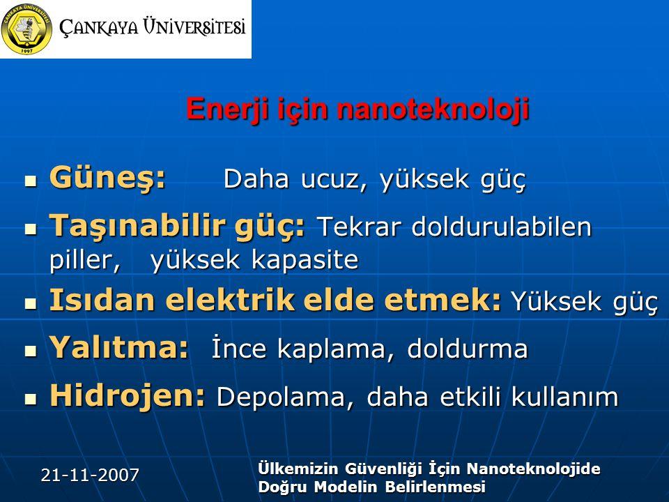 21-11-2007 Ülkemizin Güvenliği İçin Nanoteknolojide Doğru Modelin Belirlenmesi Enerji için nanoteknoloji Enerji için nanoteknoloji Güneş: Daha ucuz, y