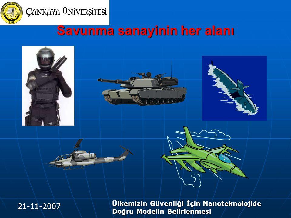 21-11-2007 Ülkemizin Güvenliği İçin Nanoteknolojide Doğru Modelin Belirlenmesi Savunma sanayinin her alanı