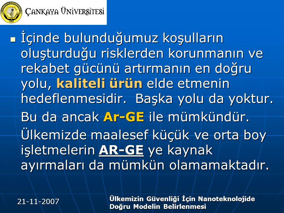 21-11-2007 Ülkemizin Güvenliği İçin Nanoteknolojide Doğru Modelin Belirlenmesi İçinde bulunduğumuz koşulların oluşturduğu risklerden korunmanın ve rek